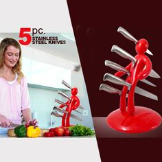 $62 for a Your Ex Knife Block with Stainless Steel Knives | DrGrab