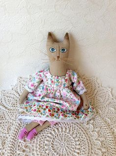 Primitive cat Textile doll Interior Cat Interior doll Unique