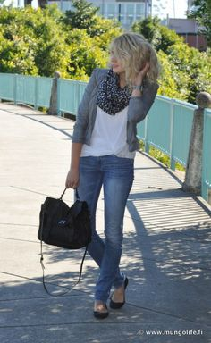 white blouse, jeans, gray blazer, patterned scarf and flats
