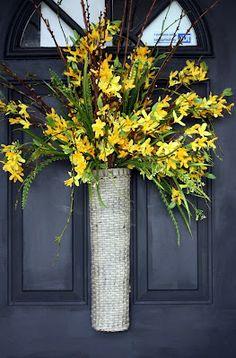Forsythia Door Basket - forsythia makes me smile!  :)
