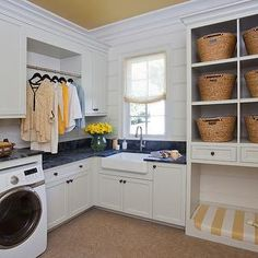 Show House Powder/Laundry - traditional - Utility Room - Atlanta - Harrison Design Laundry Room Shelves, Farmhouse Laundry Room, Basement Laundry, Laundry Room Design, Laundry Rooms, Laundry Baskets, Farmhouse Remodel, Built In Dog Bed, Harrison Design