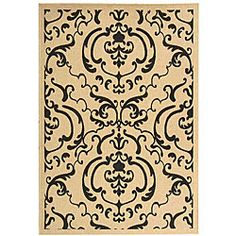 @Overstock - Featuring Persian and European influences, this indoor/outdoor Bimini rug showcases a sand background with a black pattern. Made with 100-percent fine-spun polypropylene, this floor rug is resistant to the elements.http://www.overstock.com/Home-Garden/Indoor-Outdoor-Bimini-Sand-Black-Rug-92-x-126/4765782/product.html?CID=214117 $256.99