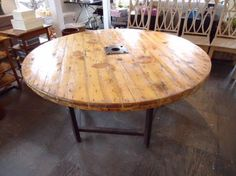 Large French Round Reclaimed Table Rustic Thick Plank Woodon Octagonal Rustic Metal Base with Bottom Stretcher Reclaimed Wood with Metal Detail One of a Kind Table Due to Nature of Wood but Similar Ones Can Be Made