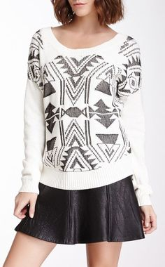 Long Sleeve Aztec Knit Sweater. Love this. Not loving the skirt though.