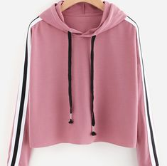 SheIn offers Stripe Tape Drop Shoulder Raw Hem Marled Hoodie & more to fit your fashionable needs. Pink Outfits, Teen Fashion Outfits, Pretty Outfits, Cool Outfits, Crop Top Sweater, Sweater Hoodie, Oversized Hoodie Outfit, Trendy Hoodies, Tumblr Outfits