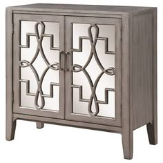 950771+Accent+Cabinet+with+Mirrored+Doors+Accented+with+Lattice+Designs