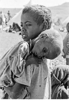 The face of hunger in Africa, caused by drought, war and over-population.