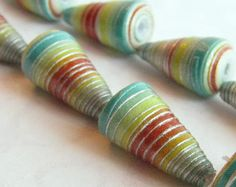 20 Paper Beads  Cone Shaped  Blue Yellow Red by PurpleDotBoutique, $10.00