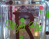 """Personalized Vinyl Lettered Glass Block - 7x7 Glass Block """"Bank"""" or """"Night Light"""" & your choice of colors in Lettering and Ribbon -. $28.99, via Etsy."""