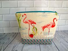 5a12534b0c Cotton fabric wash bag - toiletry bag - pink flamingo wash bag - handmade -  gift - women - funky flamingo wash bag