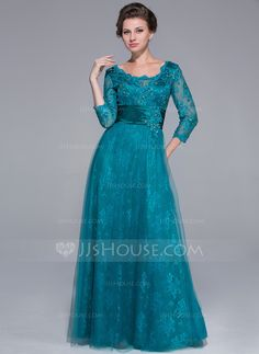 A-Line/Princess Scoop Neck Floor-Length Ruffle Beading Sequins Zipper Up Sleeves 3/4 Sleeves 2014 Jade Spring Fall Winter General Plus Tulle Lace Mother of the Bride Dress