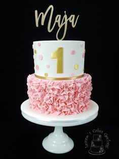 Two of my favourite things...pink and ruffles. Thanks to POSH Toppers for the custom gold mirror name topper for this beautiful cake. www.facebook.com/cakesbyleannerhodes