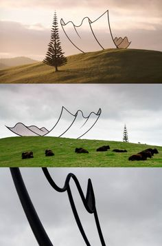 Neil Dawson's Horizons, a steel frame outline of a napkin fluttering to earth @ Gibbs farm, NZ