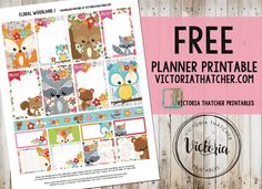 Free Floral Woodlands Planner Stickers from Victoria Thatcher
