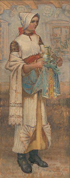 Martin Benka - Žena v bošáckom kroji Folklore, Costumes, Painting, Art, Etchings, Art Background, Dress Up Clothes, Fancy Dress, Painting Art
