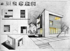 Cube House. A white concrete frame intersects a wooden box. Notice how the ground floor terrace follows the balcony line to balance the overall composition. Also, the glazing goes around the wooden box thus is emphasizing the ground floor. Pencil + Colored Crayons on 50x70 Standard Paper, 5 Hours Completion Time #architecture #architect #rendering