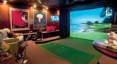 The golf room by Virtual Golf Girl  // glad we haven't finished redesigning our basement!! New idea!