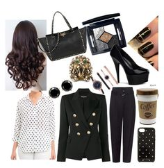 """""""Spencer Hastings Inspired Outfit 💀"""" by ladicyanne on Polyvore featuring Foxcroft, Christian Dior, Pleaser, Valentino, Balmain, Anne Klein, Gucci, Monday and Kate Spade"""