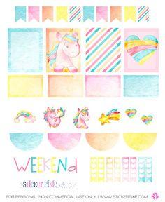 Free Printable Unicorn Planner Stickers - Sticker Pixie