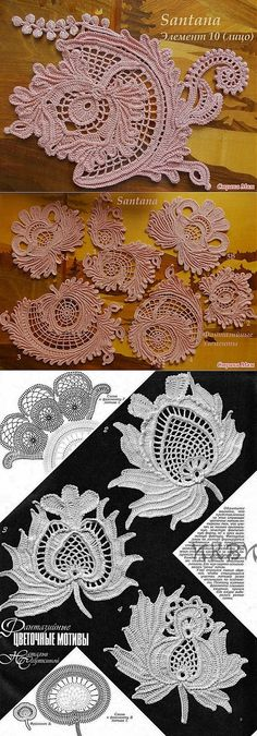 Letras e Artes da Lalá: Irish Lace Irish Crochet Patterns, Crochet Motifs, Freeform Crochet, Crochet Designs, Crochet Chart, Crochet Stitches, Crochet Leaves, Crochet Flowers, Russian Crochet