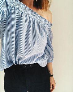Off shoulder blue and white stripe Bardot top. Primark. #OOTD - Hannah  (@hannahandtheblog) on Instagram