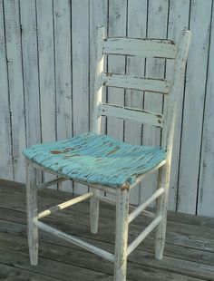 Vintage Chair, painted chair, Aqua chair, wood chair, Cottage chic, Shabby and chic Home decor on Etsy, $78.00