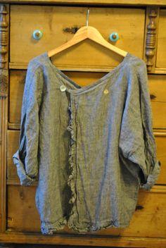 linen tunic, low v-neck