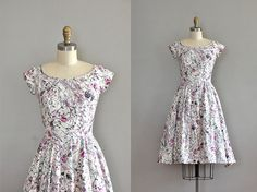 1950s plum & white floral dress