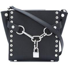 Alexander Wang Black Attica Chain Mini Satchel Bag ($725) ❤ liked on Polyvore featuring bags, handbags, shoulder bags, black, man satchel bag, mini handbags, hand bags, mini satchels and handbag satchel