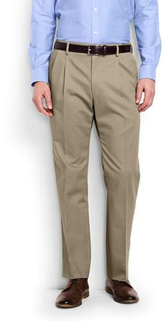 Lands' End Men's Pleat Front Comfort Waist No Iron Chino Pants-Khaki Mens Big And Tall, Big & Tall, Tall Pants, Khaki Pants, Lands End, Thighs, Iron, Legs, Cotton