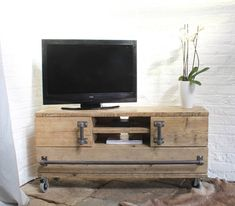Tv Board Industrial reclaimed scaffolding board media unit with sliding doors coach
