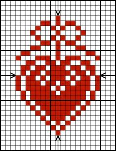 Free red & white heart design chart by Lesley Teare