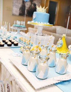 "This Little Prince themed first birthday party needs to win some sort of award for ""Cutest Use of Milk Bottles""!  Designed by Katie of Petite Social, this"