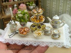 Miniature Dollhouse Tea Set With The Pastries On The by Minicler