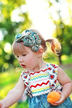 Rosette Cluster Elastic Headband