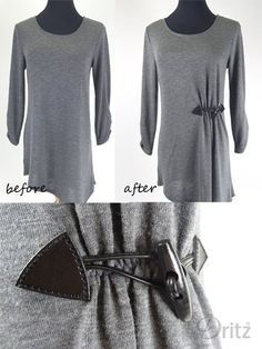 Sewing Clothes Dritz Sew-on Toggle shown on a refashioned T-shirt - New Dritz Sewing Supplies: Sew-on Toggles. Easy to sew onto blanket scarves, wraps, tops, skirts and bags. Four colors available. Shirt Diy, Shirt Refashion, Fashion Sewing, Diy Fashion, Fashion Ideas, Sewing Alterations, Diy Clothes Alterations, Diy Kleidung, Diy Mode