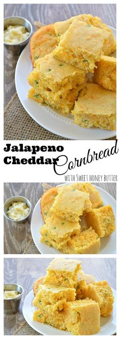 Jalapeno Cheddar Cornbread with Sweet Honey Butter.  Perfect side for a Holiday Meal!