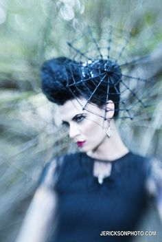 Halloween Costume, Spider Hat, Web Hat, Witch Couture Spider Web Fascinator Cocktail Hat- Batcakes Couture. $119.00, via Etsy.