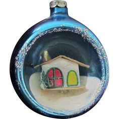 Vintage Blue Diorama Glass Christmas Ornament Putz House scene found at www.rubylane.com