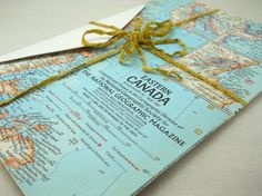 stationery set: antique map of Eastern Canada by HandyGalStudios