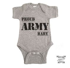 """Proud Army Baby"" Onesie. White onesie is 100% cotton. Heather grey Onesie is 90% cotton and 10% polyester. Processing time 1-5 business days. Please let us know if you need you order by the certain d"