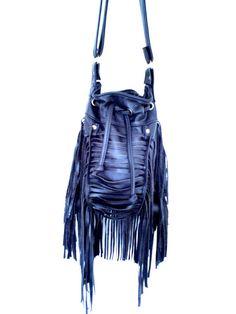 BAG - black Boho Leather fringe bag- handmade shoulder bag with adjustable long strap on Etsy, $130.00