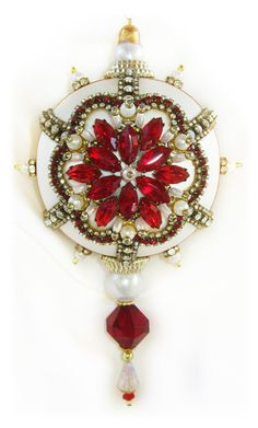 Dazzling Christmas Ornament - Ruby/Crystal/Pearl
