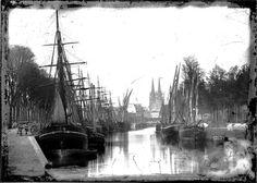 Le port de Quimper rempli de caboteurs, fin XIXè