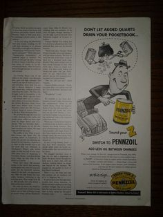 Vintage Pennzoil Lubricant 1952 Original Magazine Print Ad