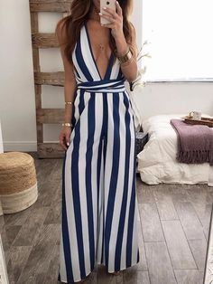 Halter Backless Vertical Striped Jumpsuit trendiest dresses for any occasions, special event dresses, accessories and women clothing. Estilo Fashion, Ideias Fashion, Ruffles, Striped Jumpsuit, Vertical Stripes, Vertical Striped Dress, Jumpsuits For Women, Fashion Jumpsuits, Types Of Fashion Styles