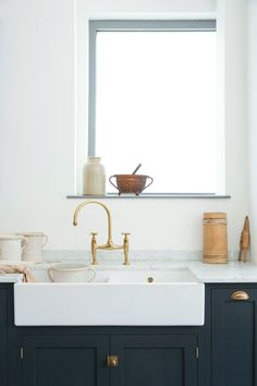devol aged brass ionian taps by perrin amp rowe with a big farmhouse belfast: perrin rowe lifestyle
