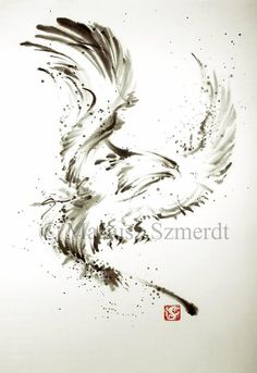 Great idea for tattoo, but make a watercolor. suibokuga SUMIE original Japanese painting art EAGLE by Asianature, $100.00