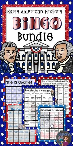 $ This bundles contains: 5 Bingo Games: -The 13 Colonies -The American Revolution -The Constitution -The Presidencies of Washington, Adams, Jefferson, and Monroe -The Era of Good Feelings and Politics of the Common Man  Each game is also available for purchase individually. Buy the bundle and it's like getting 1 game for FREE! (scheduled via http://www.tailwindapp.com?utm_source=pinterest&utm_medium=twpin&utm_content=post9029770&utm_campaign=scheduler_attribution)