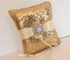 Sequin Ring Bearer Pillow Gold Sequin by LaceyClaireDesigns